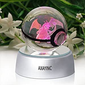 AXAYINC 3D Crystal Ball LED Night Lights Advance Laser Engraving Children's Gift (PHL)