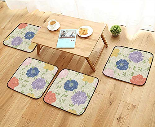 - Jiahonghome Universal Chair Cushions Floral Wallpaper with Pastel Colored Flowers,Seamless,Elegant Personalized Durable W15.5 x L15.5/4PCS Set