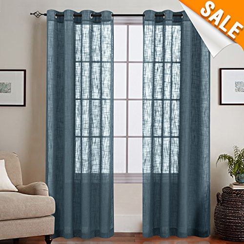 Contemporary Panel (Linen Textured Sheer Curtains for Living Room, Grommet Top Slub Open Weave Curtain Sets, Two Panels, 55-by-95 Inch, Navy Blue)