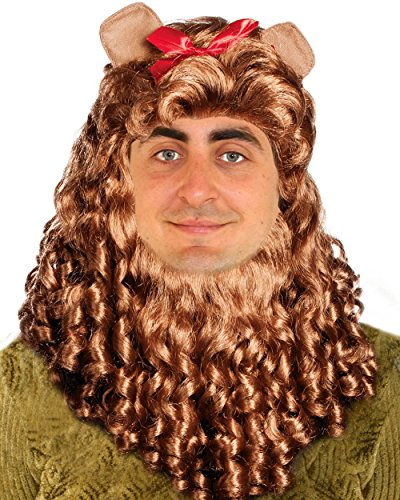[Cowardly Lion Costume Wig Deluxe Curly Cowardly Lion Wig] (Cowardly Lion Costumes)