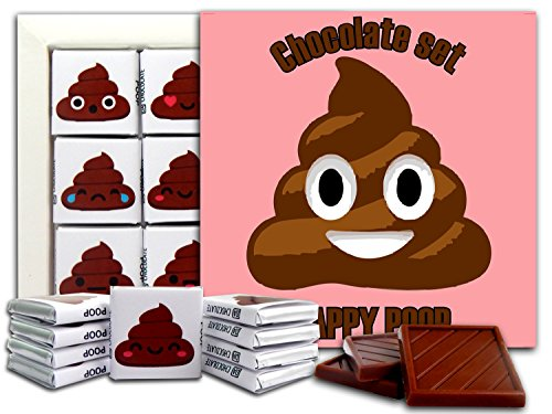 DA CHOCOLATE Candy Souvenir POOP EMOJI Chocolate Gift Set 5x5in 1 box (Happy Poop - Usa Phone Chat
