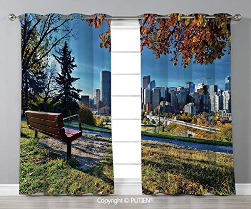 Grommet Blackout Window Curtains Drapes [ City,Park Bench Overlooking the Skyline of Calgary Alberta During Autumn Tranquil Urban,Multicolor ] for Living Room Bedroom Dorm Room Classroom Kitchen Cafe]()