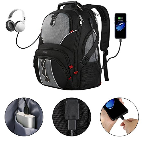 Travel Laptop Backpack, Large Computer Backpack Bag Fits 17 inch Laptop for Men Women for Hiking/School / College, Black TSA Smart Scan Bookbag with 9 Compartments Made of Water-Resistant Fabric by Ytonet (Image #5)
