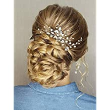 Barogirl Wedding Head piece Swarowski Bobby Pin Decorative Hair Pins Set Beaded Wedding Hair Jewelry for Women and Girls 1 PC (Silver)