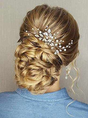 Barogirl Wedding Head piece Swarowski Bobby Pin Decorative Hair Pins Set Beaded Wedding Hair Jewelry for Women and Girls 1 PC (Silver)