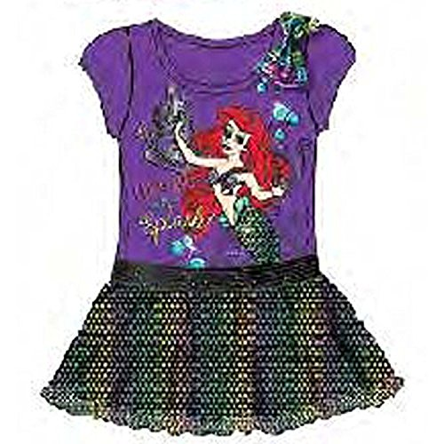 Disney The Little Mermaid Ariel Baby Girls Dress with Sequins Flounce - Purple