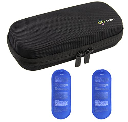 SHBC Insulin Cooler Travel Case for Diabetic Organize Medication Insulated Cooling Bag with 2 Ice Packs Black