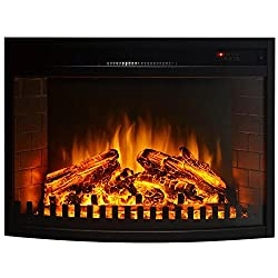 """Gibson Living Room Decor 26"""" Curved Ventless Electric Space Heater Built-in Recessed Firebox Fireplace Insert from Moda Flame"""
