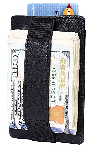 Pull Card (Slim Wallet RFID Front Pocket Wallet Minimalist Secure Thin Credit Card Holder (Black with pull-tab))
