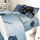 3 Piece Kids Black Panther Sheet Set Twin, Light Gray Superhero Bedding Stripe Marvel Bed Sheets Geometric Mask Science Fiction Adventure Movie Soft Cozy Modern Stylish Yellow Dark Black, Polyester