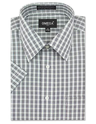(Men's Regular-Fit Medium Tone Plaid Short Sleeve Dress Shirt, White Shirts (L))