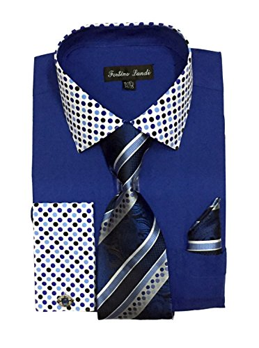Fortino Landi Polka Dot Colar & Cuffs Dress Shirts FL630-Roal Blue-17-17 1/2-34-35 (Mens Cuff Tone Two French Shirts)