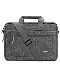 Mosiso Polyester Messenger Laptop Shoulder Bag for 11.6-13.5 Inch MacBook Air, MacBook Pro, Surface Book, Notebook Computer, Protective Briefcase Carrying Case with Adjustable Depth at Bottom, Gray