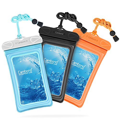 Waterproof Phone Pouch, 3 Pack Cambond Universal Floating Waterproof Phone Case iPhone Pouch Cell Phone Dry Bag Transparent TPU with Durable Lanyard for Device up to 6 inch, Blue Orange Black ()