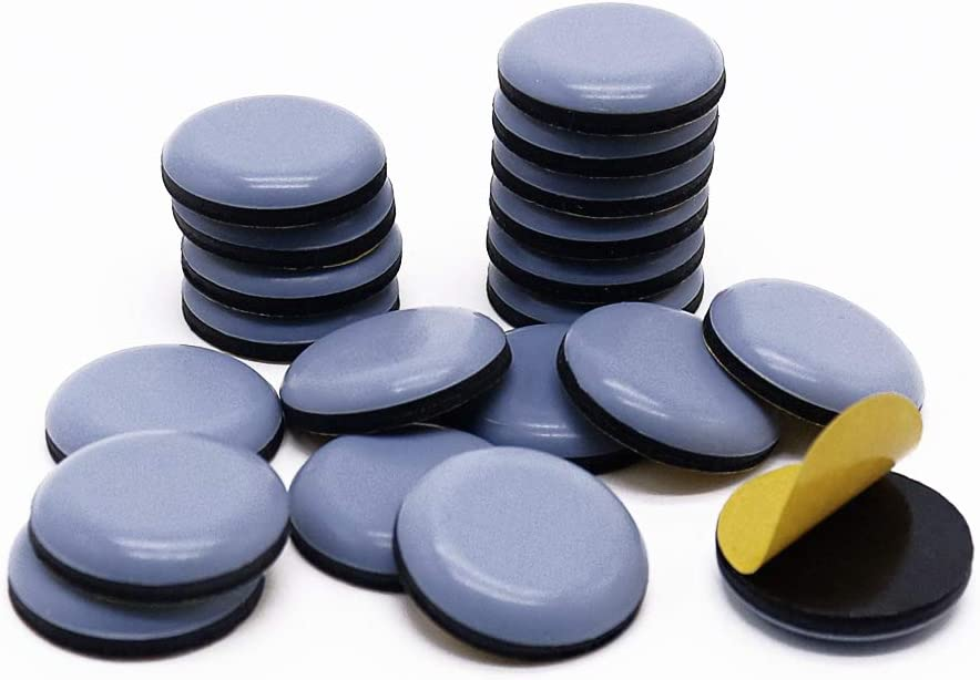 GINOYA 20pcs Stick Furniture Sliders, 1inch Teflon Furniture Glides for Carpet Tile Hardwood (Grayish Blue)