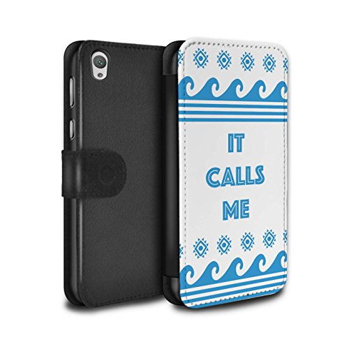 Stuff4® PU-Leder Hülle/Case/Tasche/Cover für Huawei P8 Lite/Aztek/Prinzessin Kleid Muster/Karikatur Polynesische Prinzessin Kollektion Meer/Ozean/It Calls Me