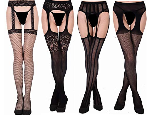 Fishnet Black Garter Stockings - MsAnya Womens Sexy Fishnet Garter Stockings Suspender Sheer Pantyhose Patterned Thigh High Tights Black 4 Pack (Garter 4 simple)
