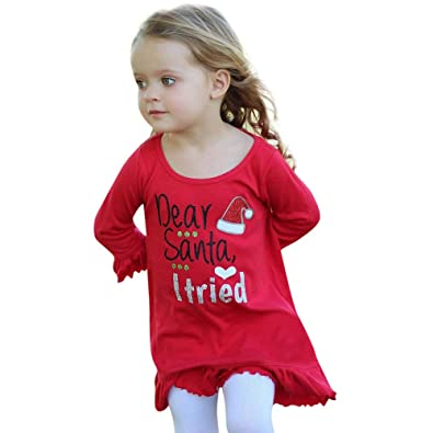 44f21ae2c507 Child Clothes Set, Girl Santa Letters Printed Dress Pullover Toddler Autumn  Winter Christmas Princess Dresses