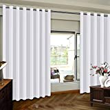 Sliding Door Curtains for Patio Door Curtain - Privacy Room Divider Curtain Solid White for Living Room, 8ft Tall Grommet Top Insulated Door Blind, Pure White, 8.3ft Wide x 8ft Tall, White, One Panel