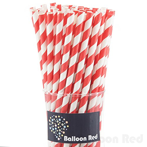 [Biodegradable Paper Drinking Straws (Premium Quality), Pack of 50, Striped - Red] (30 Second Costumes)