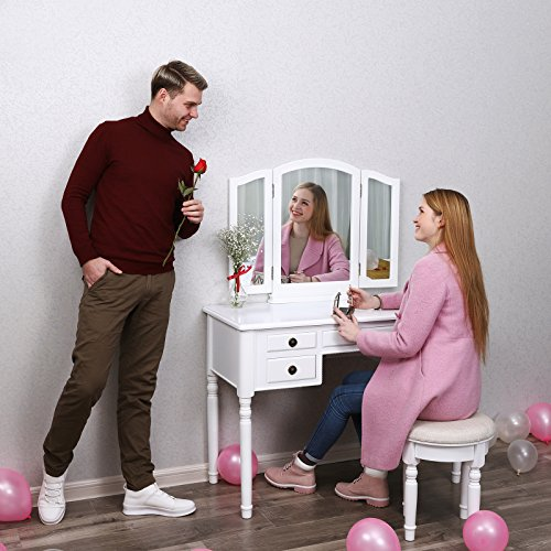 SONGMICS Vanity Set Tri-folding Mirror Make-up Dressing Table Cushioned Stool 5 Drawers White URDT108M - bedroomdesign.us