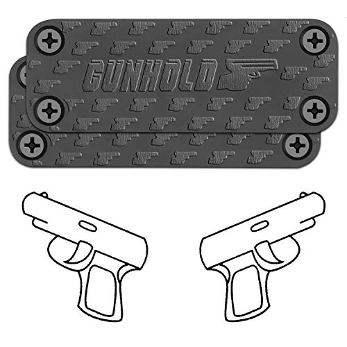 GUNHOLD Gun Magnet - Magnetic Gun Mount & Car Holster - HQ Rubber Coated 43 lbs Firearm Accessories. Install in Your car, Truck, Wall, Vault, Bedside, Doorway, Desk, Table