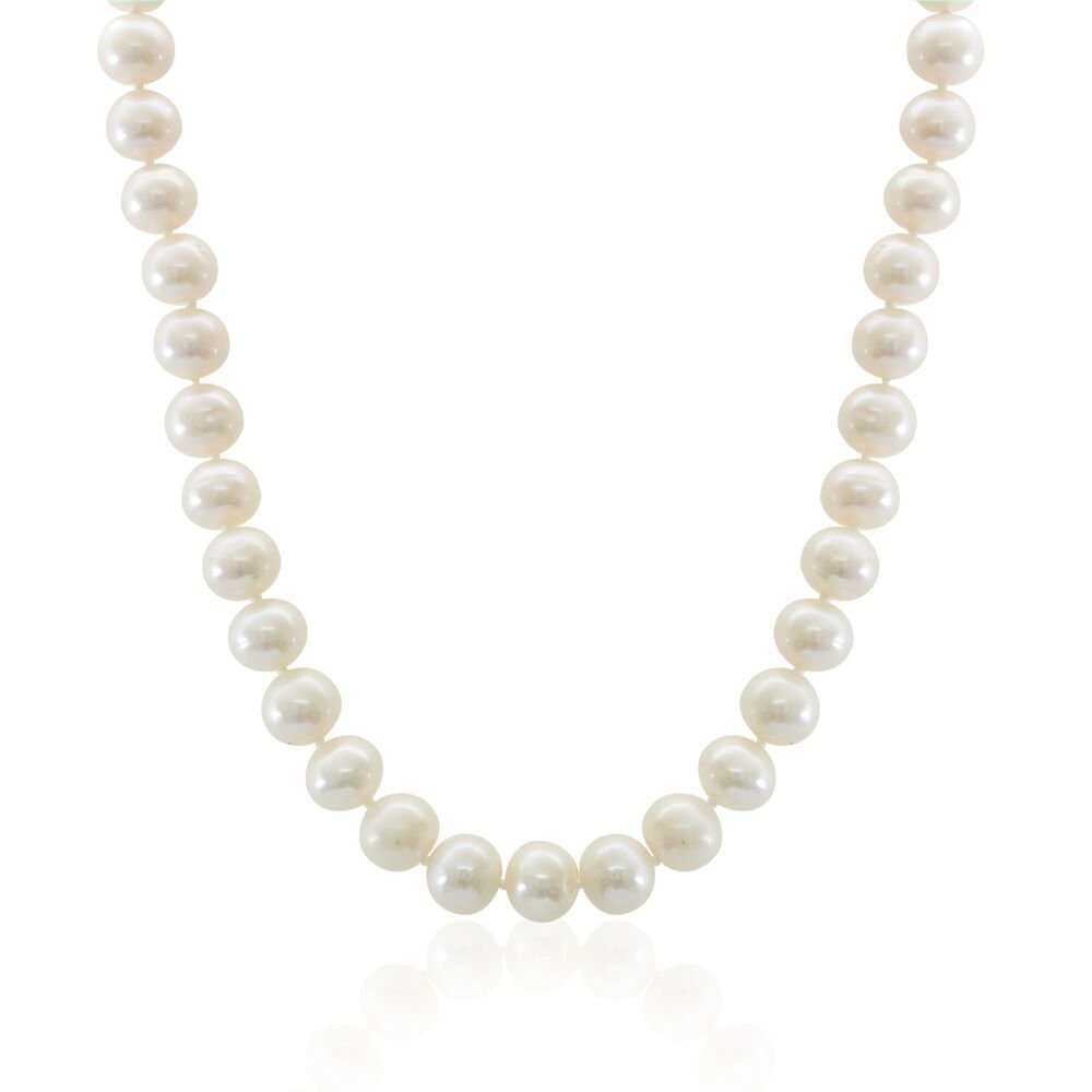 Sterling Silver White Freshwater Cultured A Quality Pearl Necklace (10-11mm), 18'' Special Offer