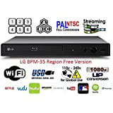 LG BPM-35 Region Free Blu-ray Player, Multi region Smart Wifi 110-240 volts, 6FT HDMI cable & Dynastar Plug adapter bundle Package