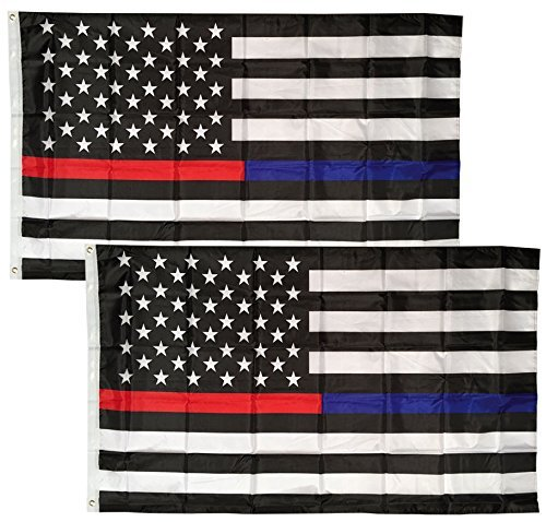((2 Pack Lot) 3x5 First Responders USA Police Fire Memorial Half Thin Blue Line Thin Red Line Flag 3'x5' House Banner Grommets / Eyelets Premium Nylon Polyester Indoor Outdoor Pennant)