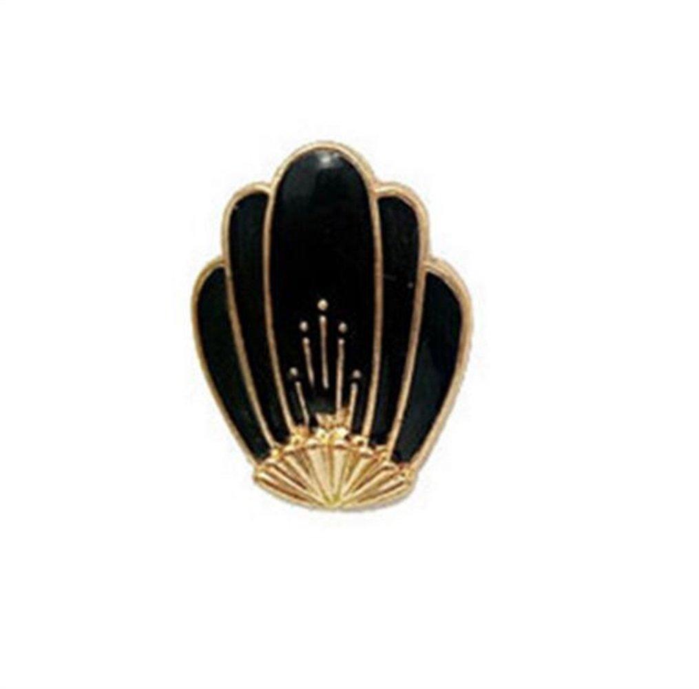 Gperw Drôle et Beau Broches Coquillage Vintage Button Badge Vêtements Accessoires (Noir)