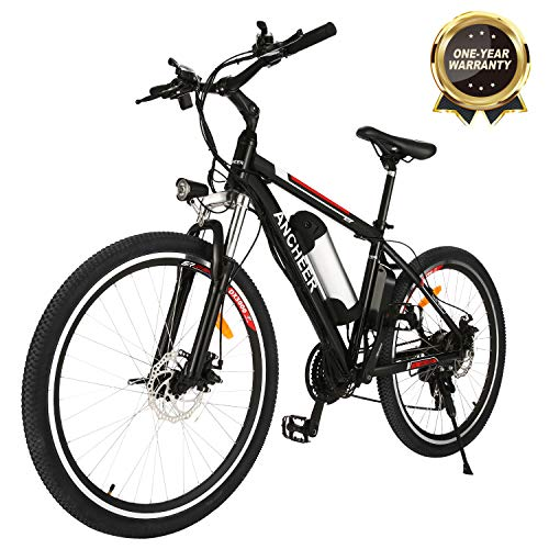 """ANCHEER Electric Mountain Bike, 250W 26"""" Electric Bicycle with Removable 36V 8Ah /12.5Ah Lithium-Ion Battery for Adults…"""
