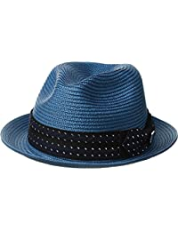 Mens Poly Braid Pinch Front Fedora With Fancy Bow Pacific Blue LG One Size