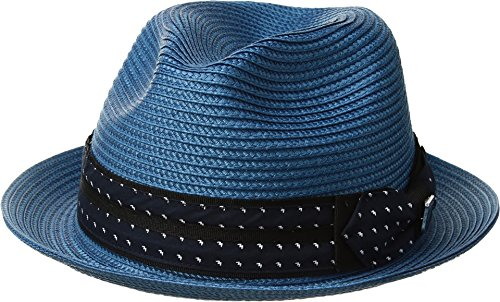 Stacy Adams Mens Poly Braid Pinch Front Fedora With Fancy Bow Pacific Blue XL One Size