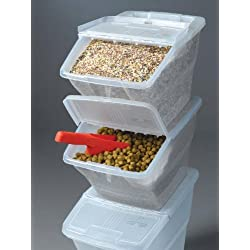 WTM CBCL-24 Stackable Bins Hinged Lids, 24-Quart, Pack of 3