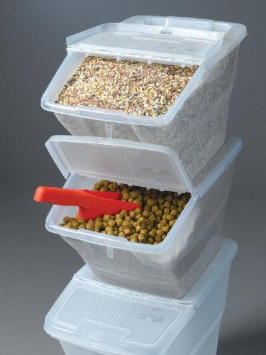 WTM CBCL-24 Stackable Bins with Hinged Lids, 24-Quart, Pack of 3