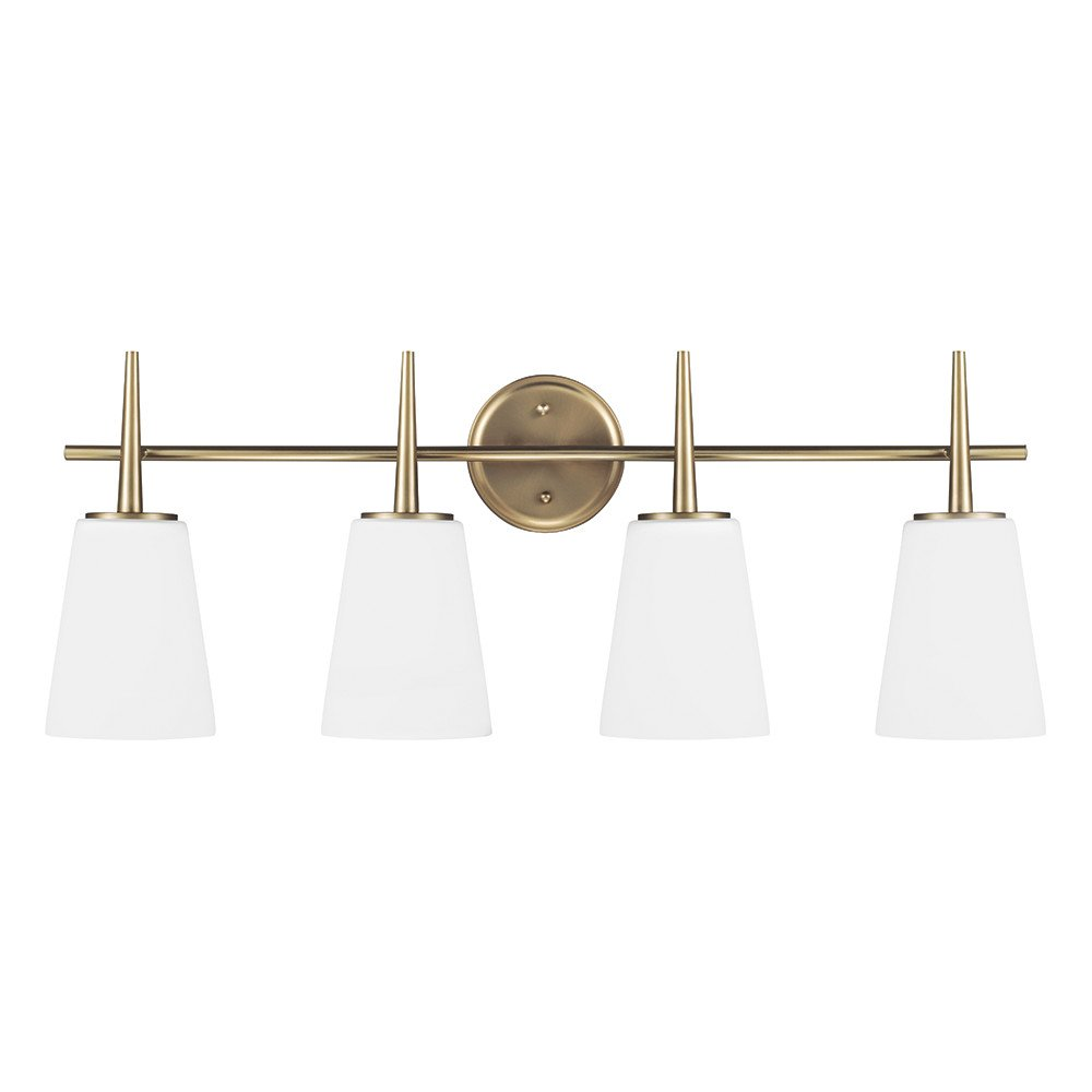 Sea Gull Lighting 4440404-848 Driscoll Four-Light Bathroom Light or Wall Light With Cased Opal Etched Glass, Satin Bronze Finish
