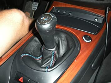 RedlineGoods shift boot compatible with BMW Z4 E85 2002-08 Black leather-Silver thread