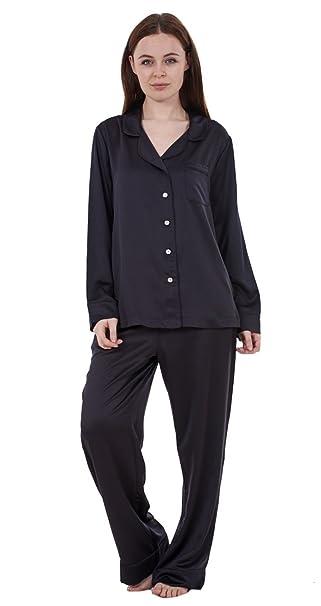 Ex Famous Store - Pijama de raso liso de manga larga para mujer Pijama de raso