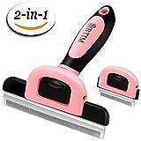 BIBTIM 2-in-1 Deshedding Tool Professional Pet Grooming...