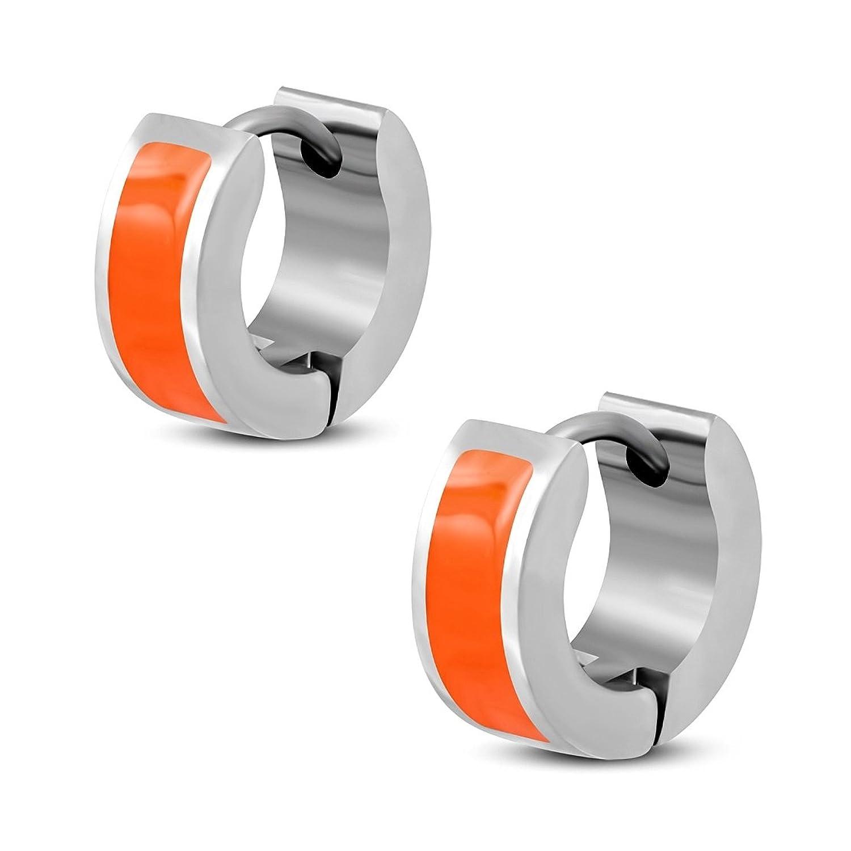 Stainless Steel Orange Enameled Bar Hoop Huggie Earrings (pair)