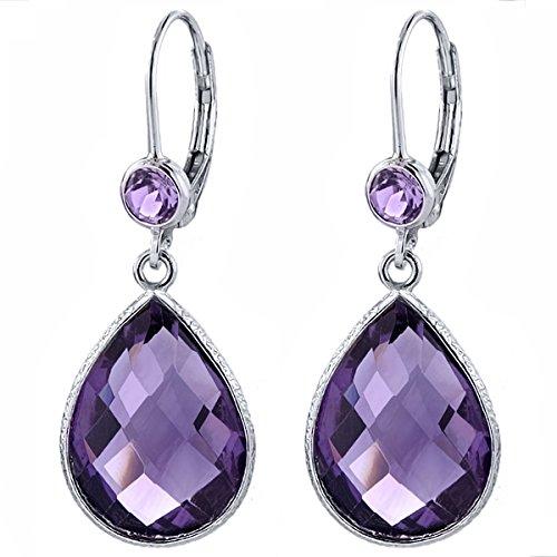 Purple Amethyst Green - 13.00 Ct Purple and Green Amethyst 16x12mm Pear Shape 925 Sterling Silver Dangle Earrings