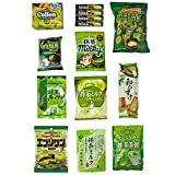 "Japanese ""Matcha flavor Set"" 14 packs of snacks, sweets and candies"