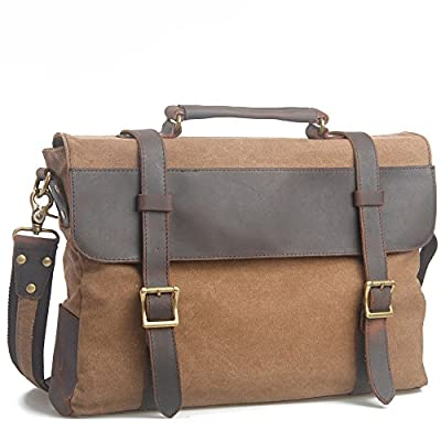 VINICIO Unisex Classical Vintage Preppy Style Durable Canvas Large Capacity Messenger Bag Shoulder Bag