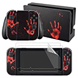 eXtremeRate Bloody Palm Print Decals Stickers Full Set Faceplate Skin +2Pcs Screen Protector for Nintendo Switch Console & Joy-con Controller & Dock Protection Kit