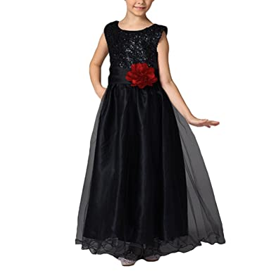 Pageant Long Dresses for Girls 3-12 Years junkai Christmas Princess Wedding PartyBlack 100cm