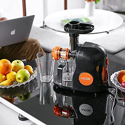 Aicok Juicer Slow Masticating Juicer Extractor, Cold Press Juicer Machine, Quiet Motor and Reverse Function, with Juice Jug and Brush to Clean Easily, High Nutrient Fruit and Vegetable Juice(Orange)