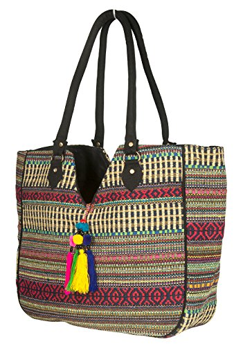 TribeAzure Large Women Shoulder Bag Tote Aztec Handbag Tassel School Everyday Beach Picnic Grocery Laptop ()