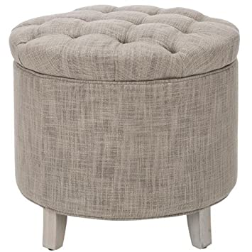 Amazoncom Safavieh Amelia Tufted Storage Ottoman Grey Kitchen