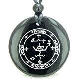 Sigil of the Archangel Michael Amulet Black Agate Magic Pendant Necklace