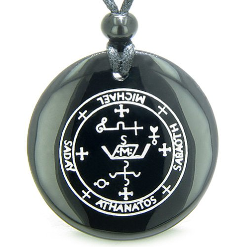 Sigil of the Archangel Michael Amulet Black Agate Magic Pendant Necklace ()